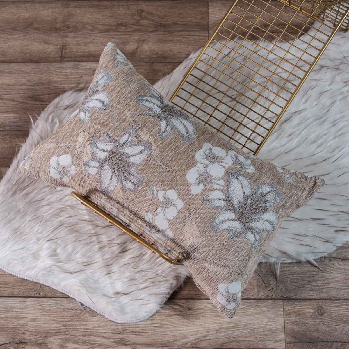 Μαξιλαροθήκη Διακοσμητική Louisiana 08 Beige Teoran 30Χ50 Ακρυλικό-Polyester