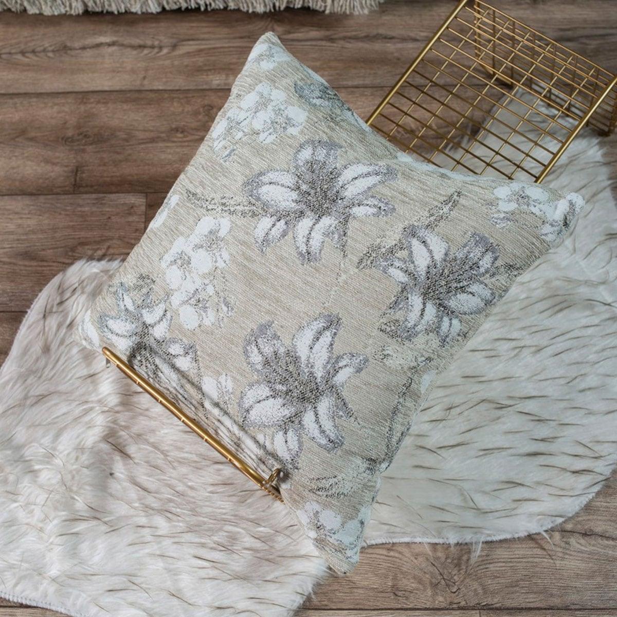 Μαξιλαροθήκη Διακοσμητική Louisiana 07 Ecru Teoran 45X45 Ακρυλικό-Polyester