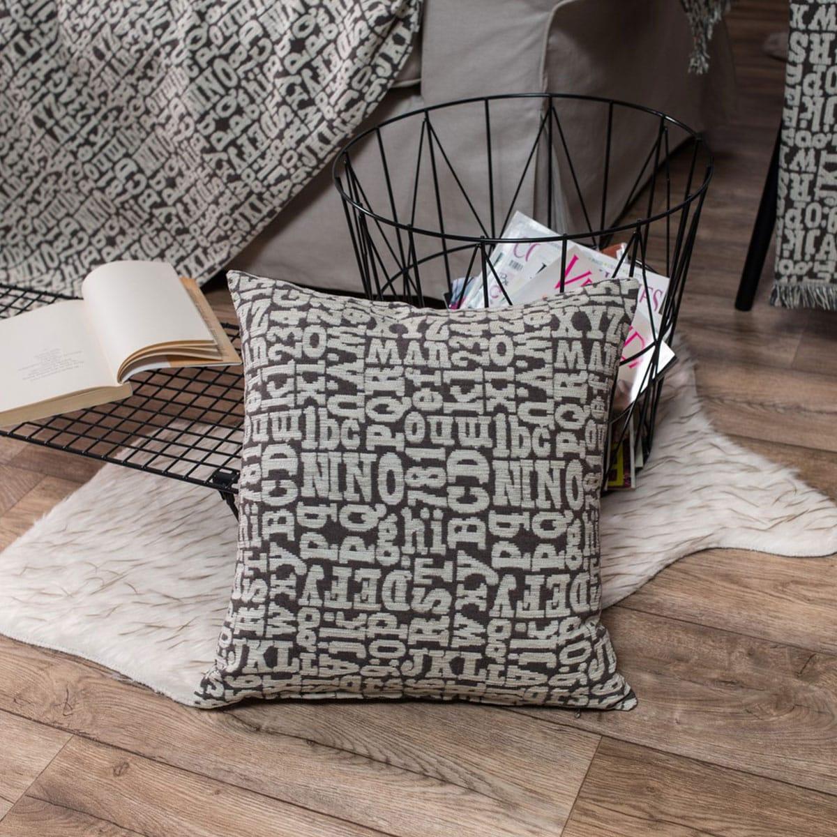 Μαξιλαροθήκη Διακοσμητική Δαπέδου Letters 03 Elephant Teoran 60X60 Ακρυλικό-Polyester