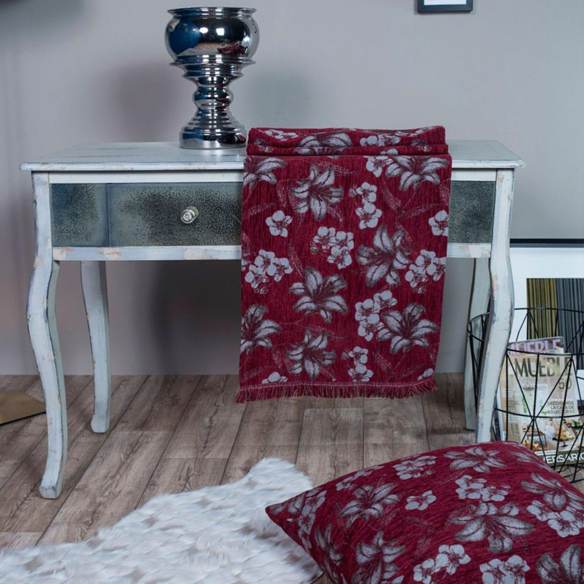 Μαξιλαροθήκη Διακοσμητική Δαπέδου Louisiana 10 Bordo Teoran 60X60 Ακρυλικό-Polyester