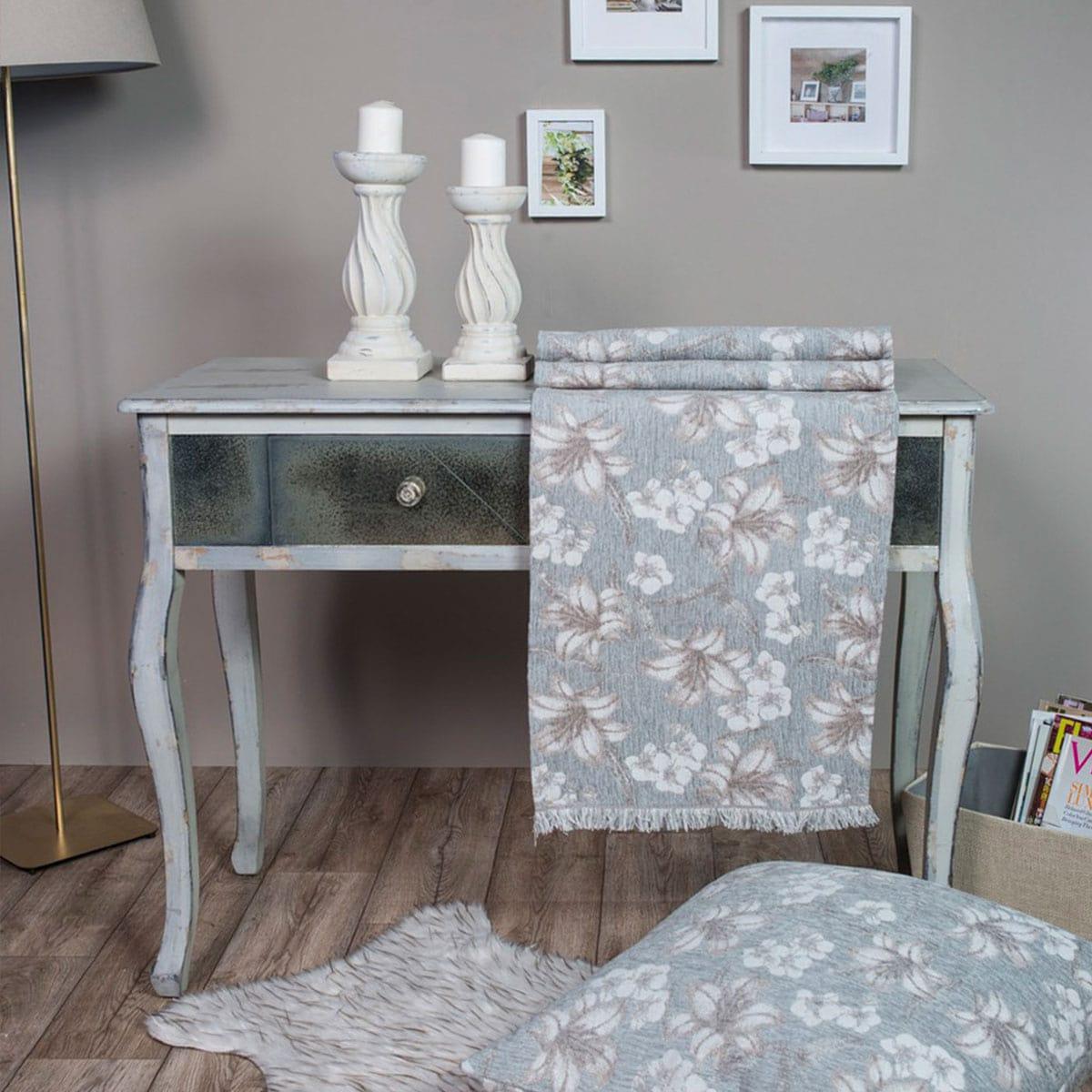 Μαξιλαροθήκη Διακοσμητική Δαπέδου Louisiana 11 Light Grey Teoran 60X60 Ακρυλικό-Polyester