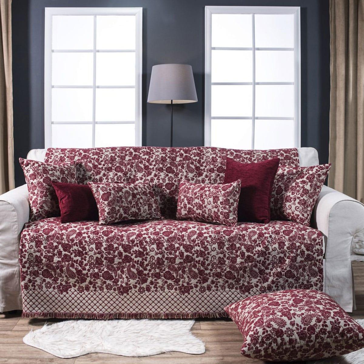 Μαξιλαροθήκη Διακοσμητική Δαπέδου Tennessee 10 Bordo Teoran 60X60 Ακρυλικό-Polyester