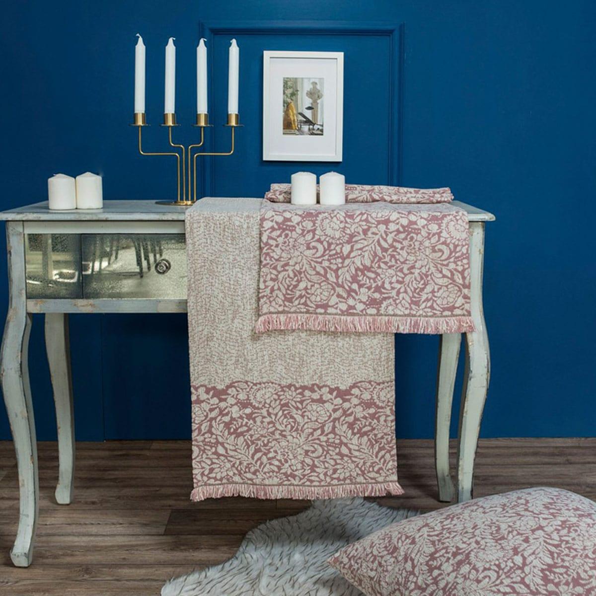 Μαξιλαροθήκη Διακοσμητική Δαπέδου Virginia 12 Rose Teoran 60X60 Ακρυλικό-Polyester