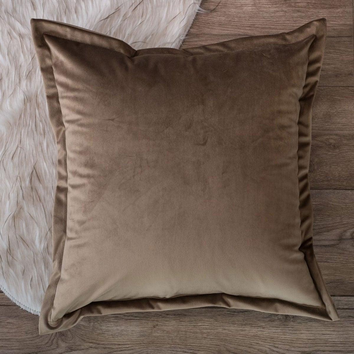 Μαξιλάρι Διακοσμητικό (Με Γέμιση) Velvet 02 Beige Teoran 45X45 100% Ακρυλικό