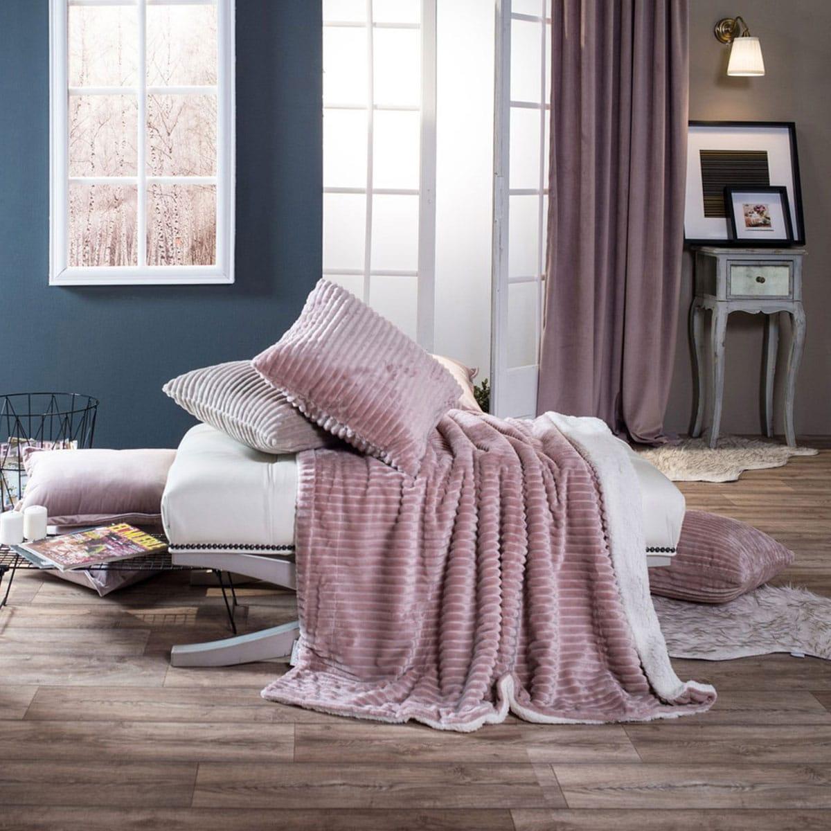 Κουβέρτα Καναπέ Pop Stripe 12 Rose Teoran 150X180 130x160cm