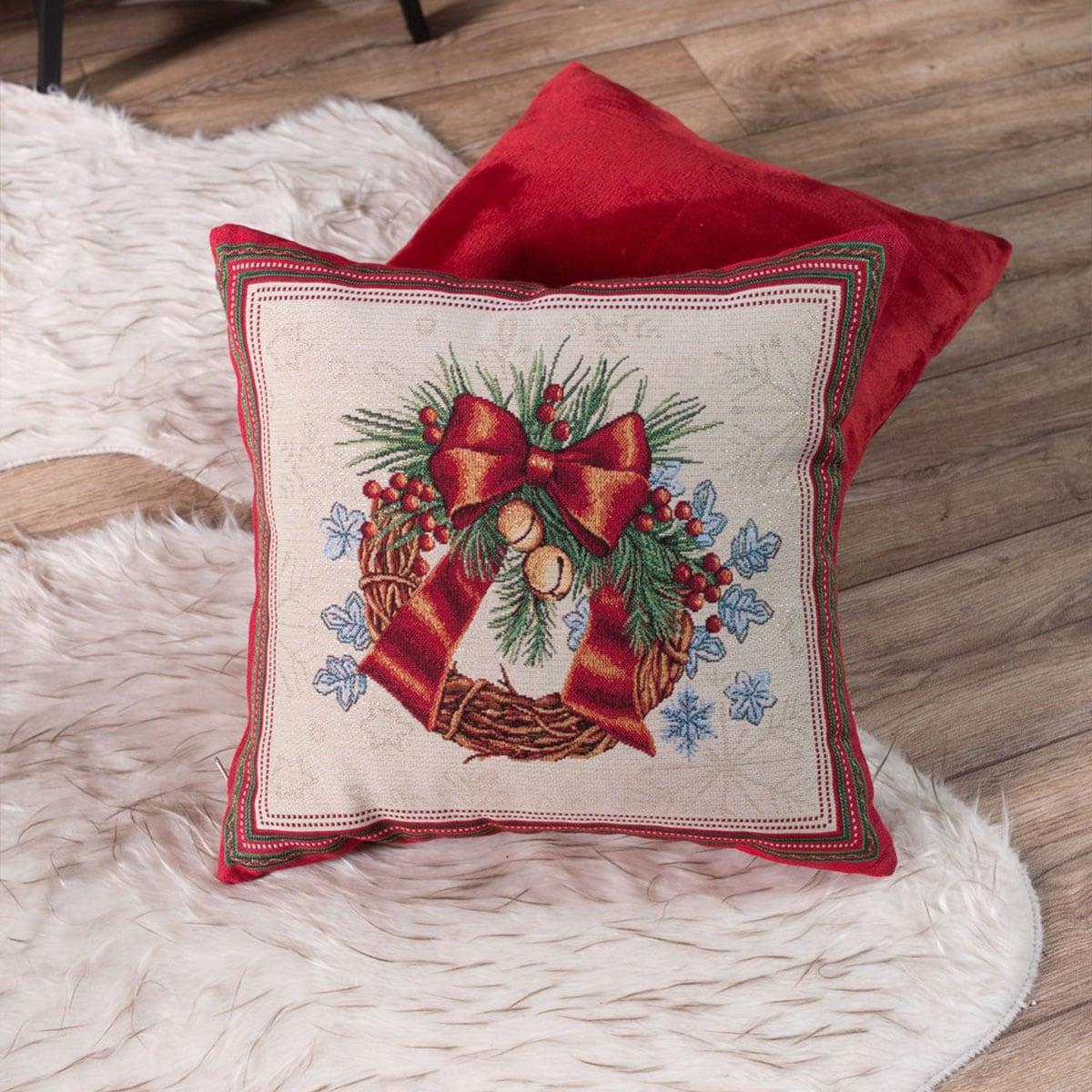 Μαξιλαροθήκη Διακοσμητική Χριστουγεννιάτικη Lights Multi Teoran 45X45 45x45cm