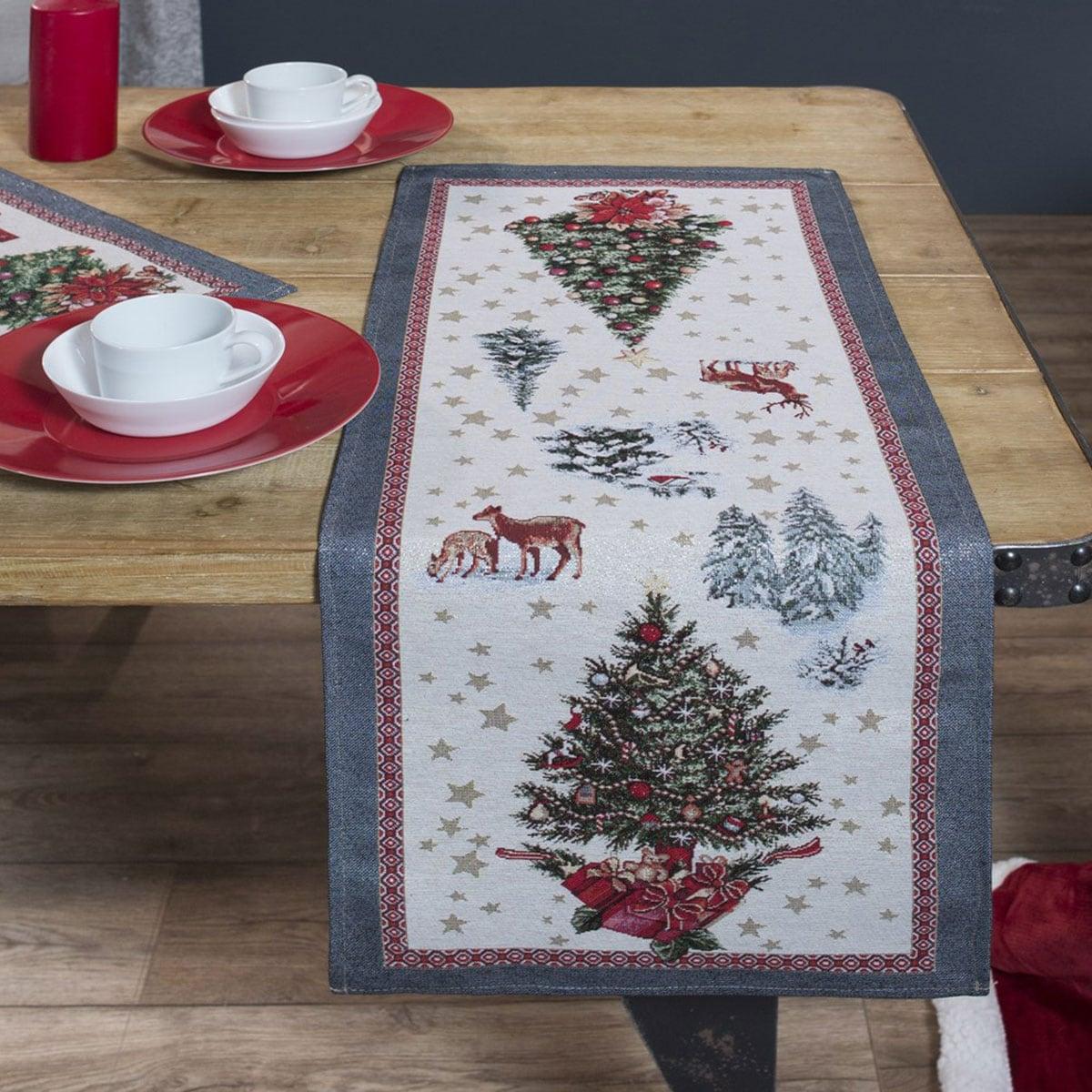 Τραβέρσα Χριστουγεννιάτικη Laponia Multi Teoran 40Χ150 45x140cm