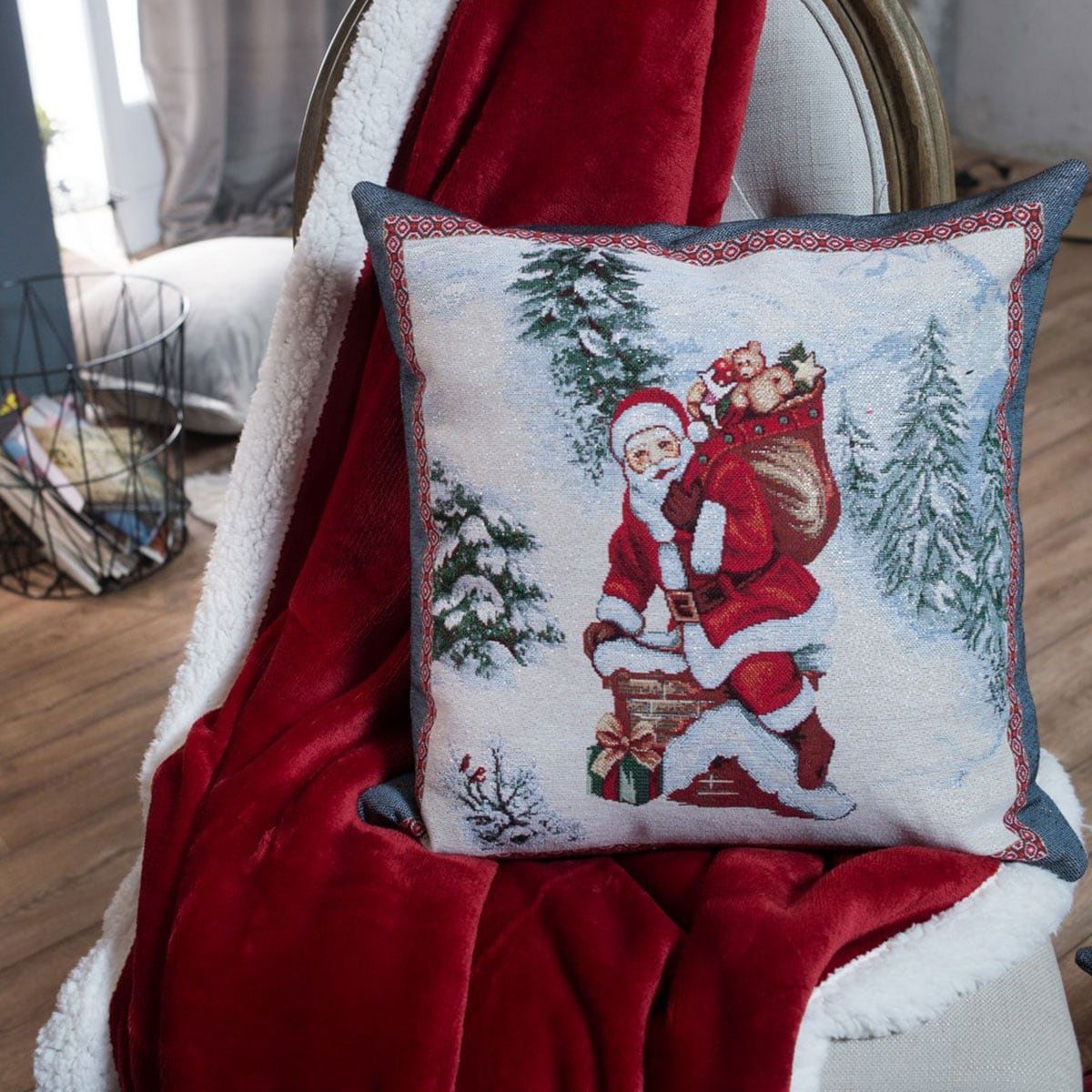 Μαξιλαροθήκη Διακοσμητική Χριστουγεννιάτικη Laponia Multi Teoran 45X45 45x45cm