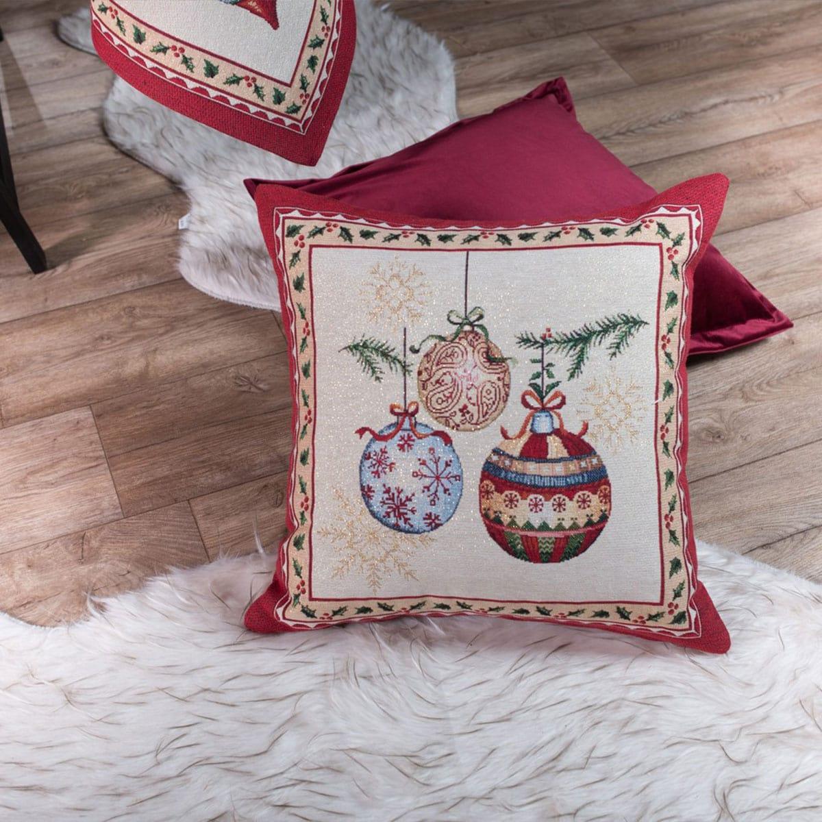 Μαξιλαροθήκη Διακοσμητική Χριστουγεννιάτικη Noel Multi Teoran 45X45 45x45cm