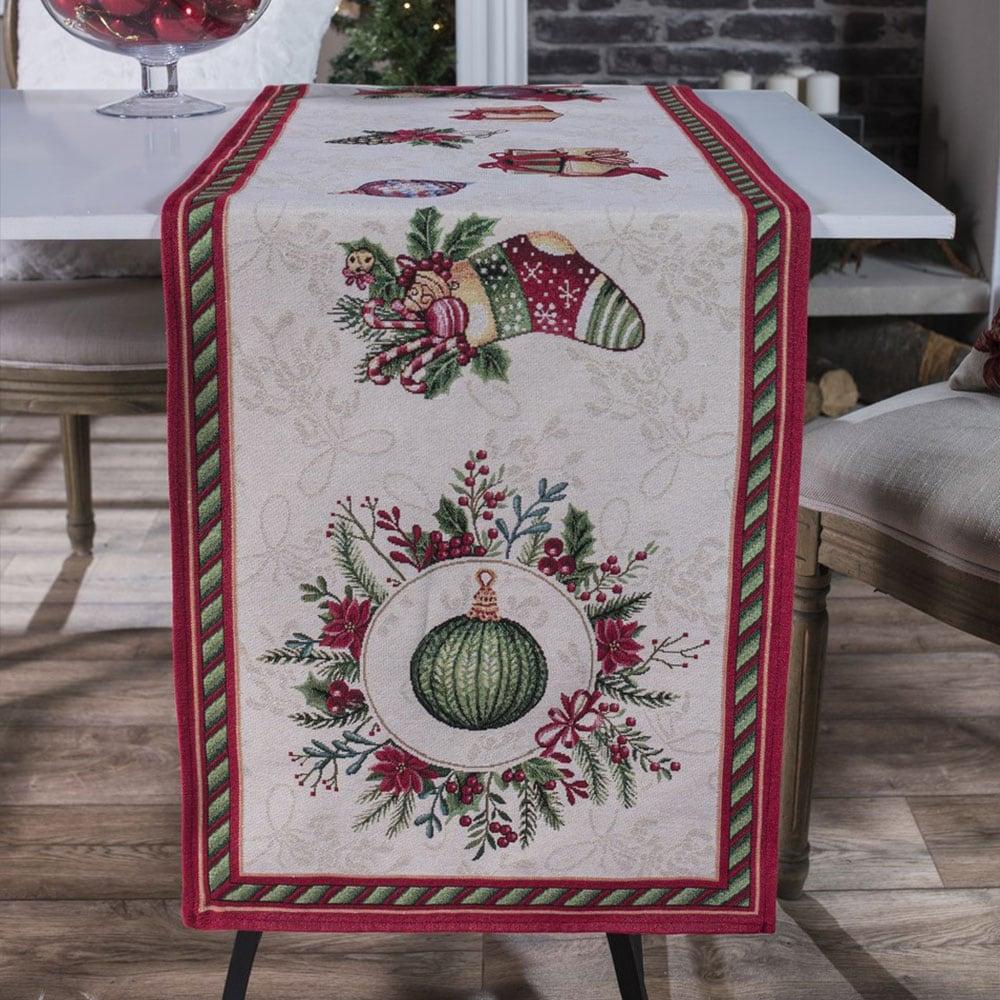 Τραβέρσα Χριστουγεννιάτικη Carol Multi Teoran 40Χ150 45x140cm
