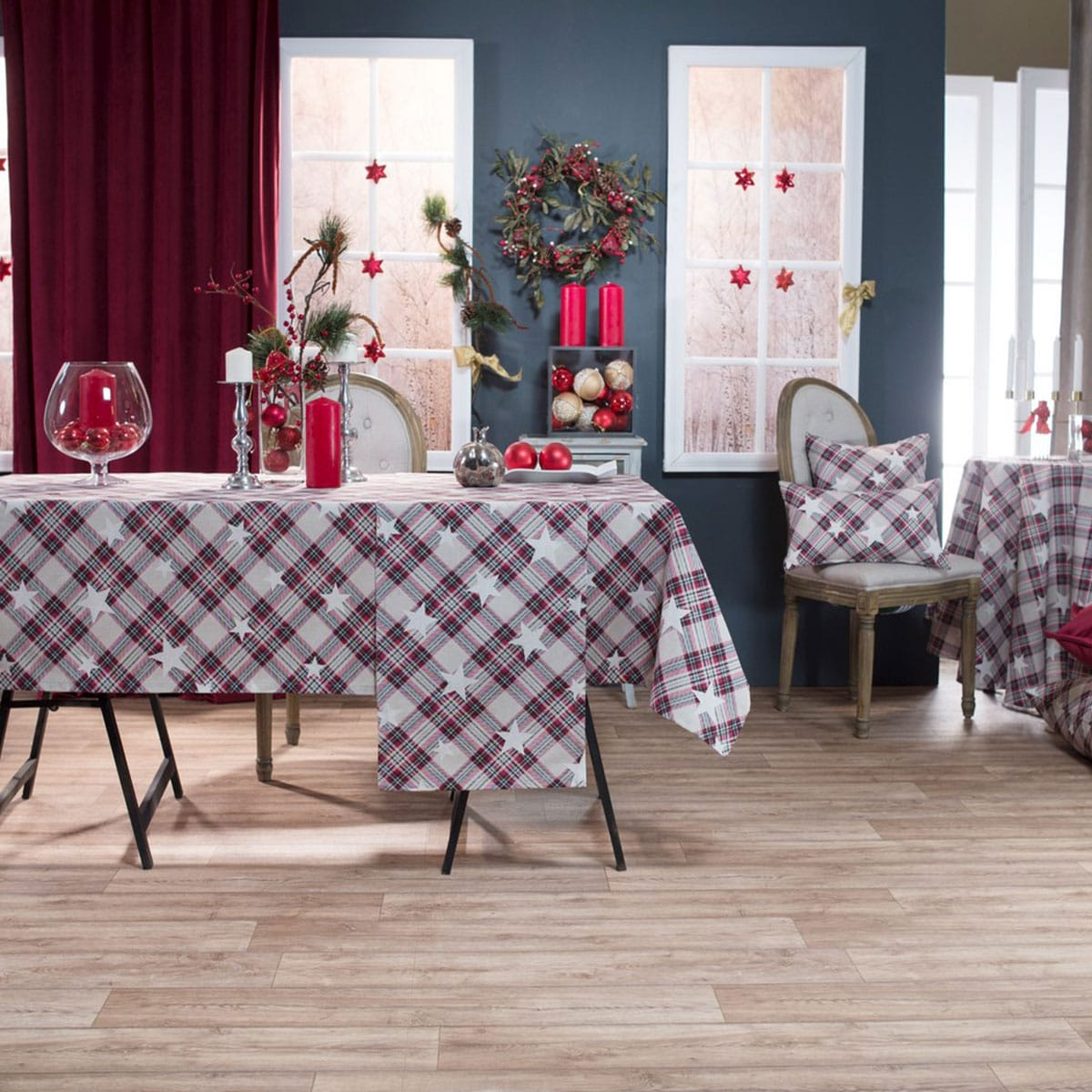 Τραπεζομάντηλο Χριστουγεννιάτικο Candy Grey-Bordo Teoran 150X200 135x180cm