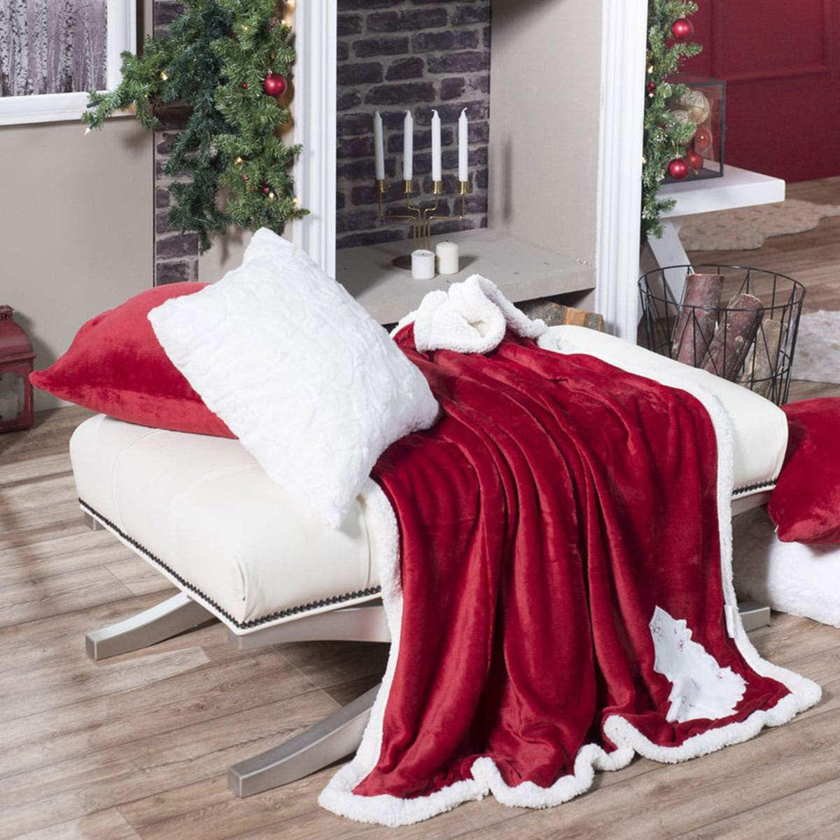 Κουβέρτα Καναπέ Χριστουγεννιάτικη Red Tree Red-White Teoran 150X180 130x160cm