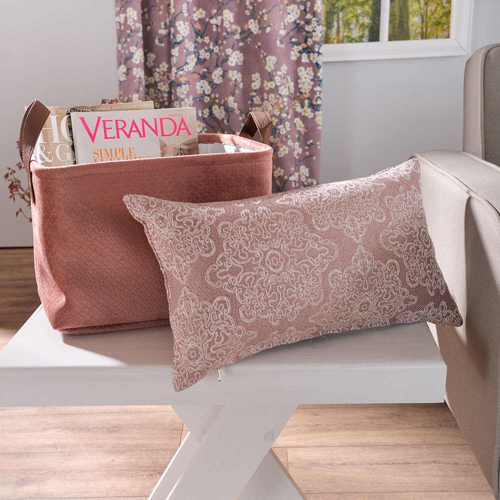 Μαξιλάρι Διακοσμητικό (Με Γέμιση) Perugia 06 Pink Teoran 30Χ50 Βαμβάκι-Polyester