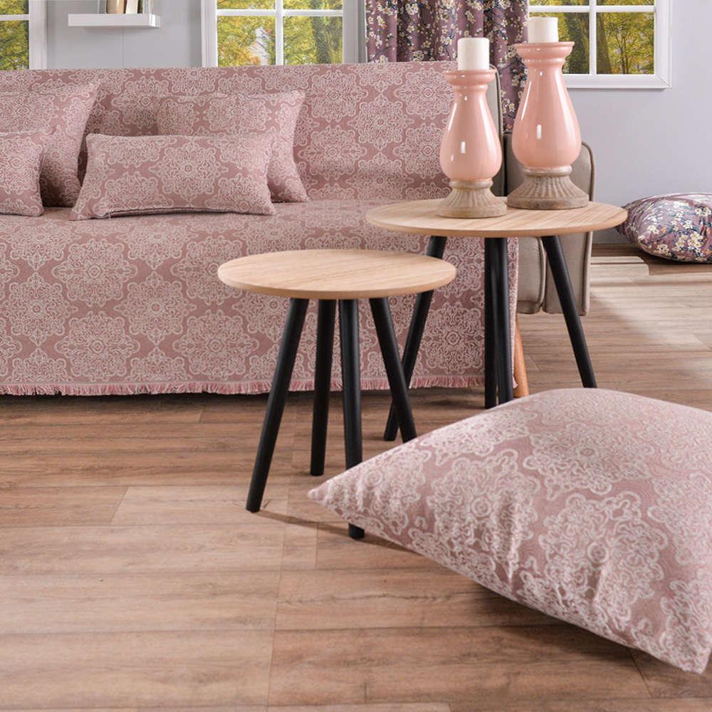 Μαξιλάρι Διακοσμητικό Δαπέδου (Με Γέμιση) Perugia 06 Pink Teoran 60X60 Βαμβάκι-Polyester
