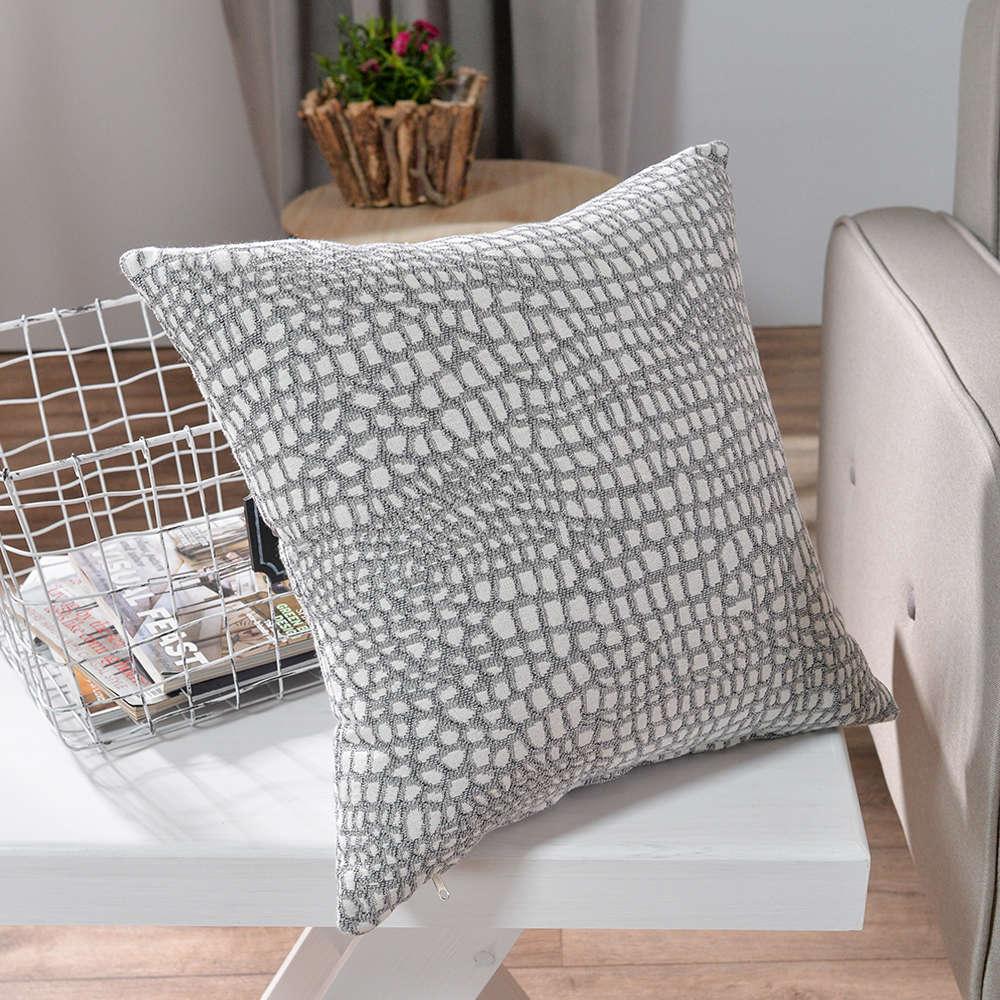 Μαξιλαροθήκη Διακοσμητική Modena 04 Grey Teoran 45X45 Βαμβάκι-Polyester