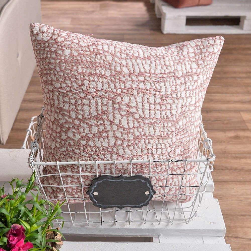 Μαξιλάρι Διακοσμητικό Δαπέδου (Με Γέμιση) Modena 06 Pink Teoran 60X60 Βαμβάκι-Polyester