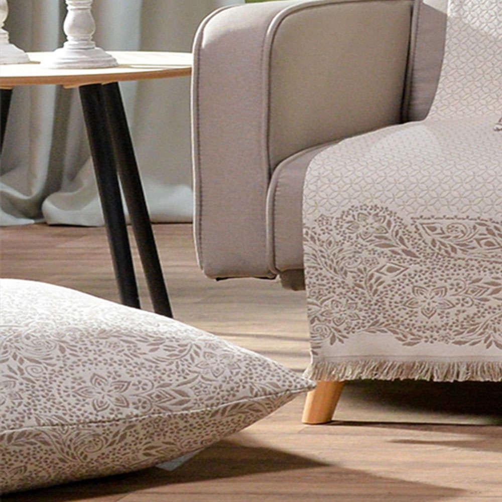 Μαξιλαροθήκη Διακοσμητική Δαπέδου Macerata 02 Beige Teoran 60X60 Βαμβάκι-Polyester