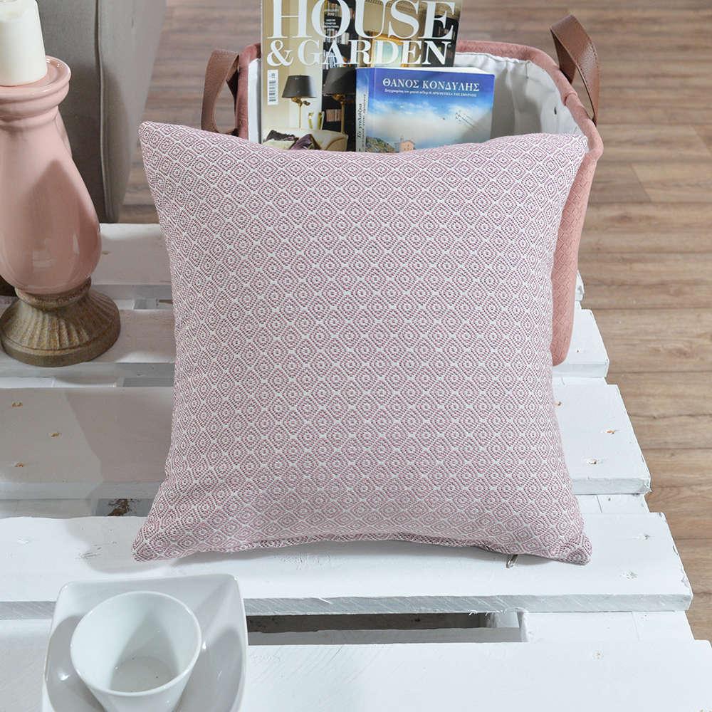 Μαξιλάρι Διακοσμητικό (Με Γέμιση) Pescara 06 Pink Teoran 45X45 Βαμβάκι-Polyester