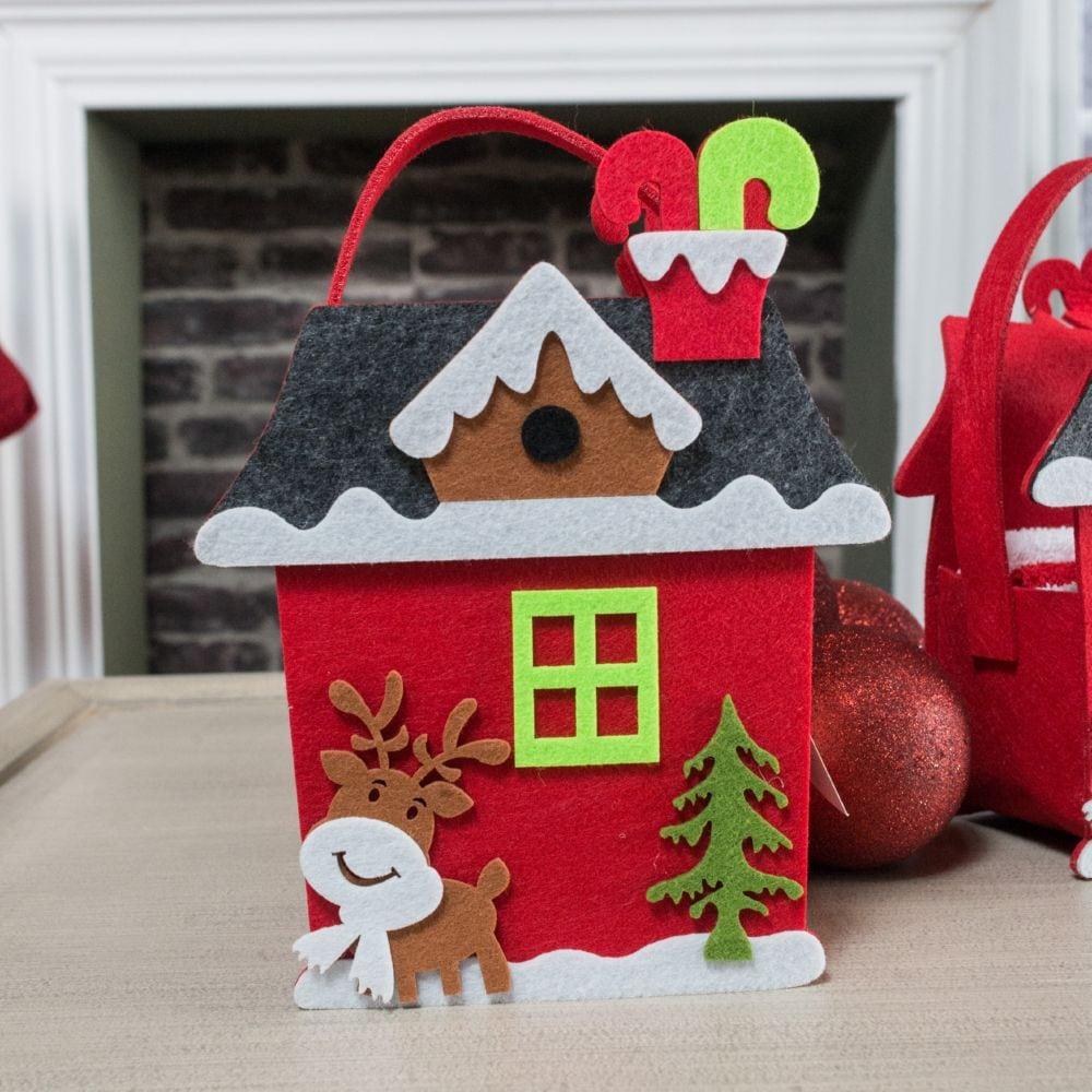 Λαβέτες Σετ 3τμχ Σε Χριστουγεννιάτικη Τσόχινη Συσκευασία Δώρου Homee 03 Red Teoran Σετ Πετσέτες