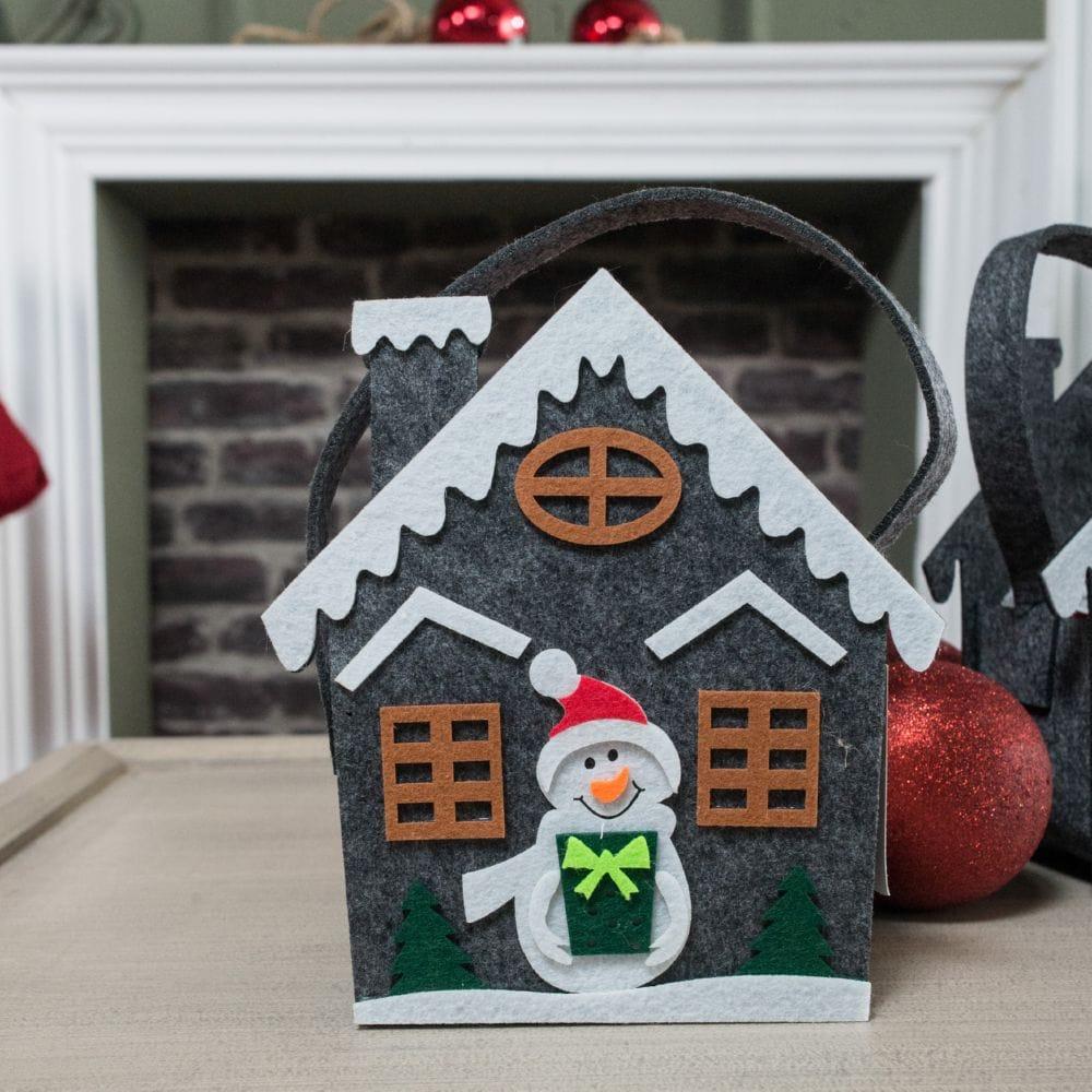 Λαβέτες Σετ 3τμχ Σε Χριστουγεννιάτικη Τσόχινη Συσκευασία Δώρου Homee 04 Grey Teoran Σετ Πετσέτες