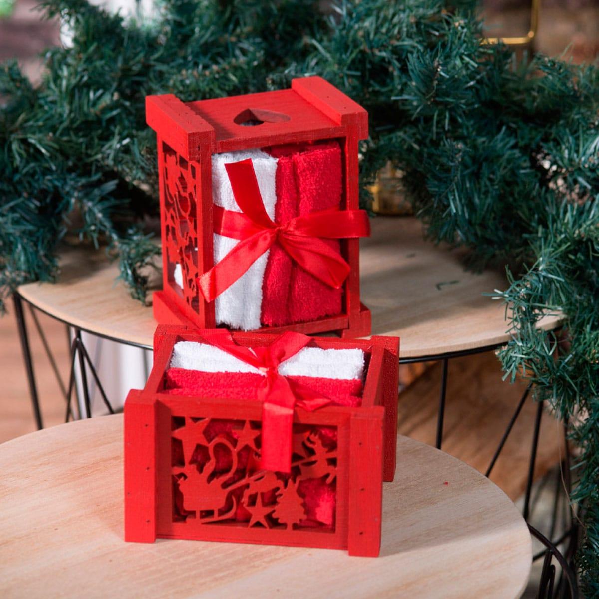 Λαβέτες Σετ 4τμχ Σε Χριστουγεννιάτικο Ξύλινο Κουτί Box 1011 Red-White Teoran Σετ Πετσέτες