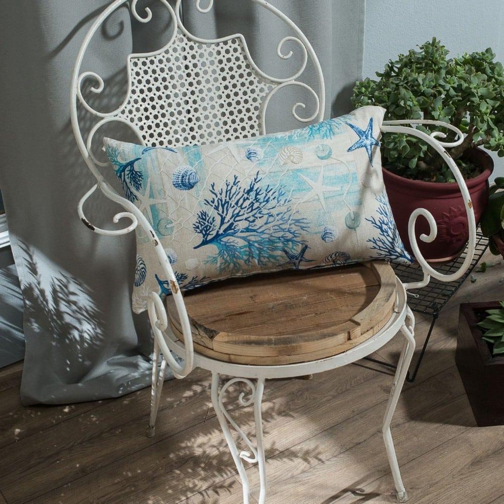 Μαξιλάρι Διακοσμητικό (Με Γέμιση) Parasol White-Blue Teoran 30Χ50 Βαμβάκι-Polyester
