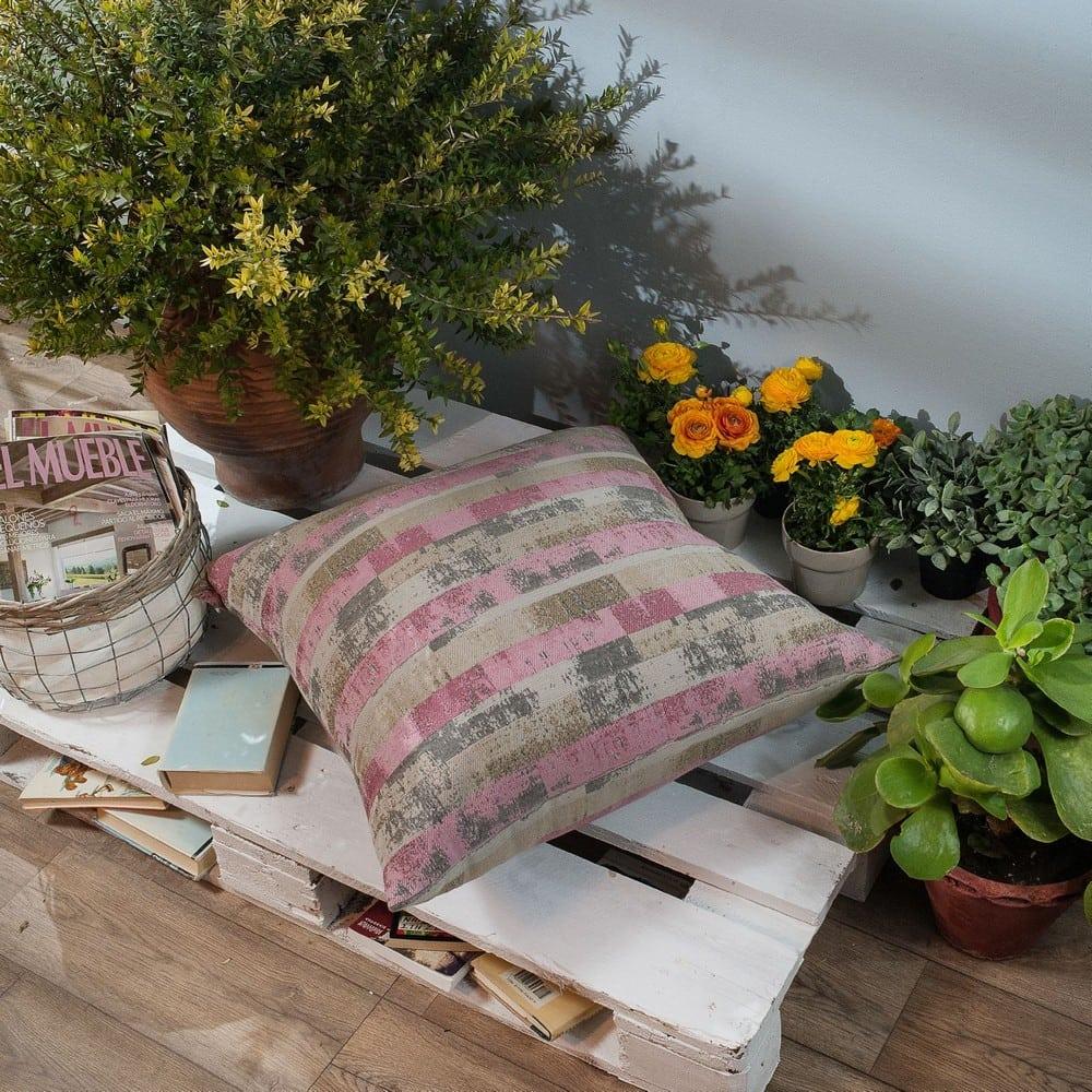 Μαξιλάρι Διακοσμητικό Δαπέδου (Με Γέμιση) Salerno 06 Pink Teoran 60X60 Βαμβάκι-Polyester