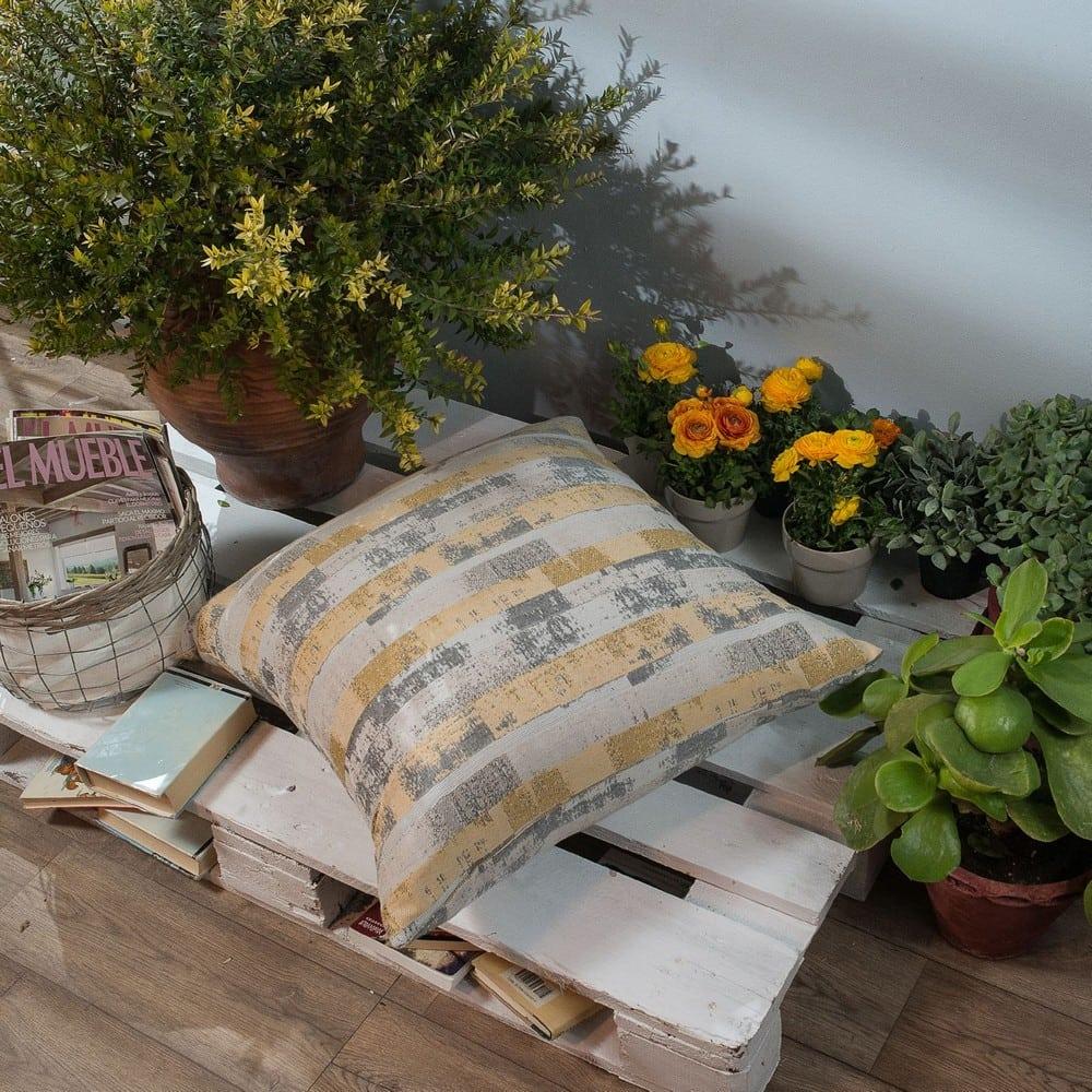 Μαξιλάρι Διακοσμητικό Δαπέδου (Με Γέμιση) Salerno 14 Yellow Teoran 60X60 Βαμβάκι-Polyester