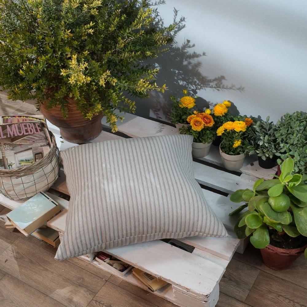 Μαξιλάρι Διακοσμητικό Δαπέδου (Με Γέμιση) Capri 04 Grey Teoran 60X60 Βαμβάκι-Polyester