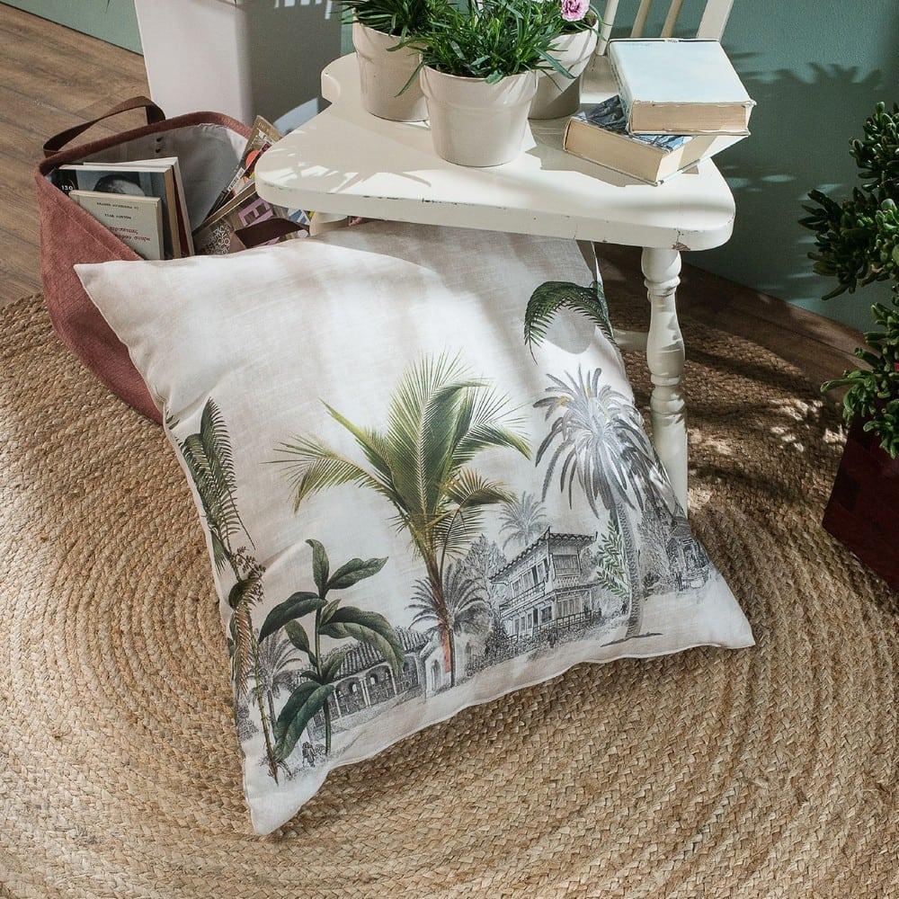 Μαξιλάρι Διακοσμητικό Δαπέδου (Με Γέμιση) Mombasa Beige-Green Teoran 60X60 Βαμβάκι-Polyester