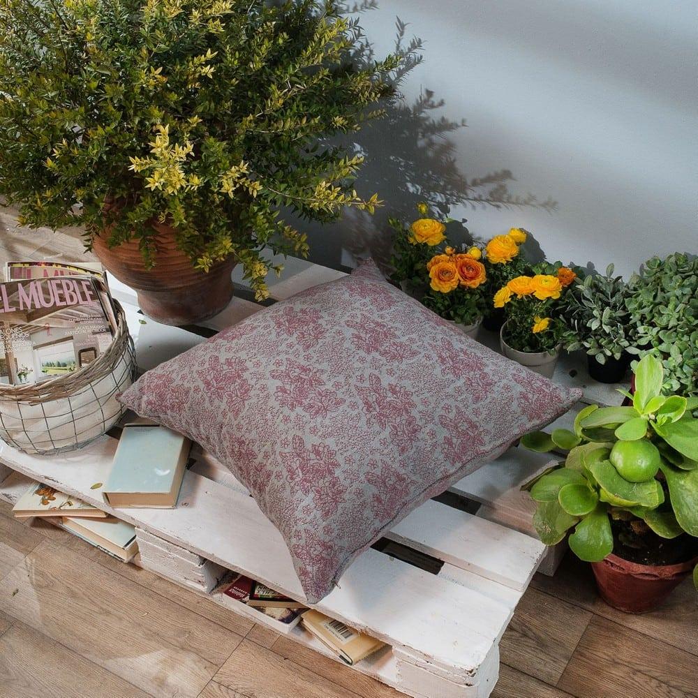 Μαξιλάρι Διακοσμητικό Δαπέδου (Με Γέμιση) Monza 06 Pink Teoran 60X60 Βαμβάκι-Polyester