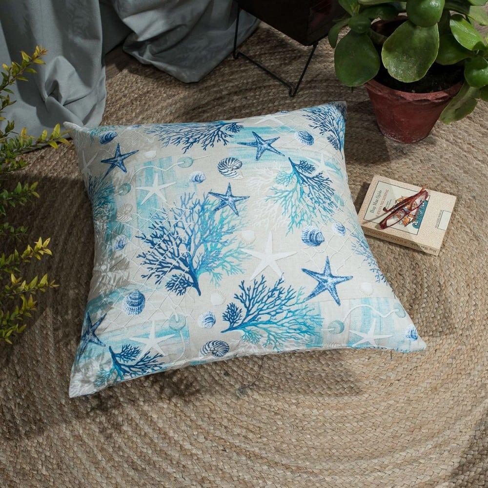 Μαξιλάρι Διακοσμητικό Δαπέδου (Με Γέμιση) Parasol White-Blue Teoran 60X60 Βαμβάκι-Polyester