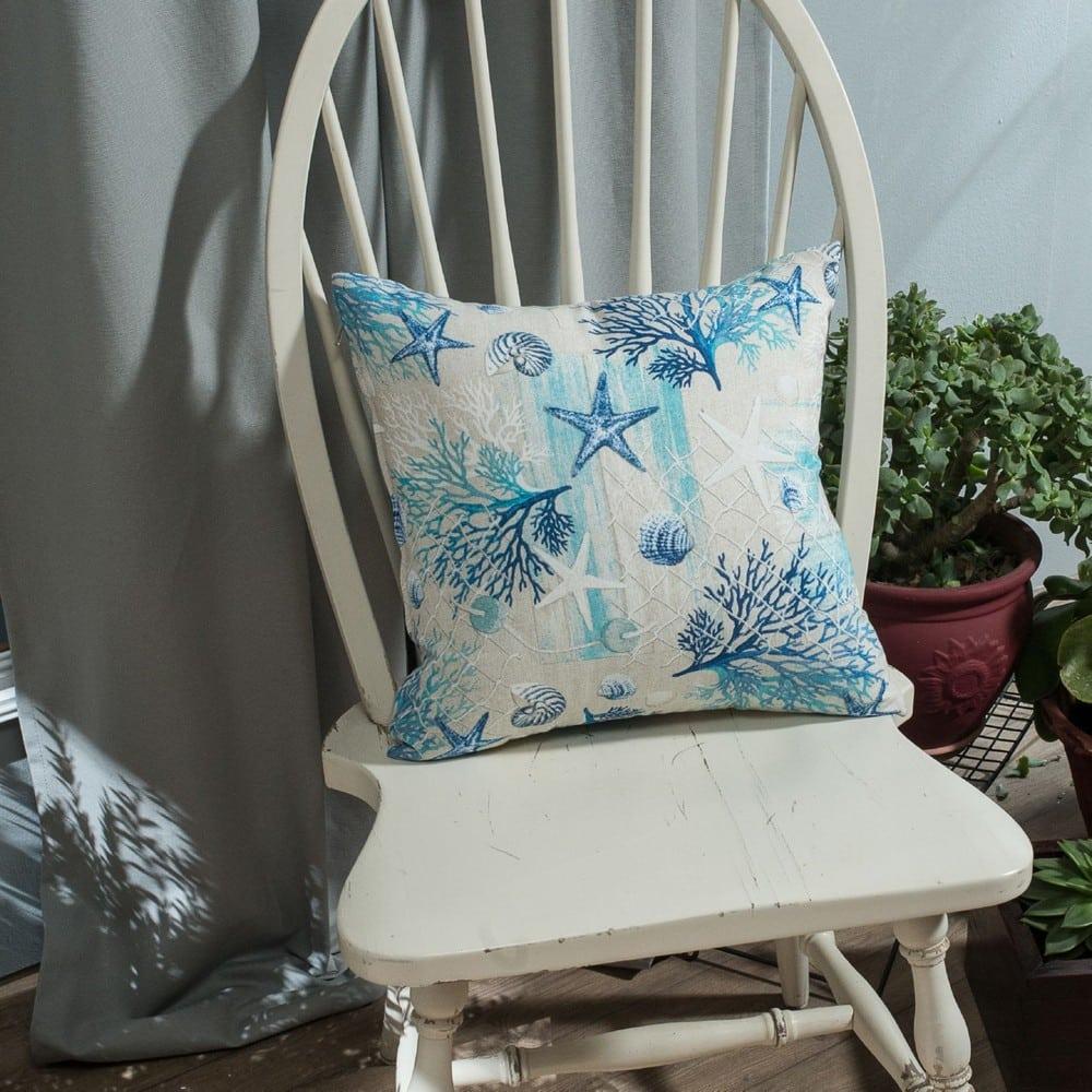 Μαξιλαροθήκη Διακοσμητική Parasol White-Blue Teoran 45X45 Βαμβάκι-Polyester