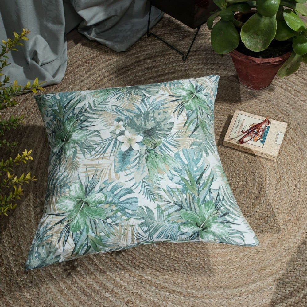 Μαξιλαροθήκη Διακοσμητική Δαπέδου Mercado Green-Blue Teoran 60X60 Βαμβάκι-Polyester