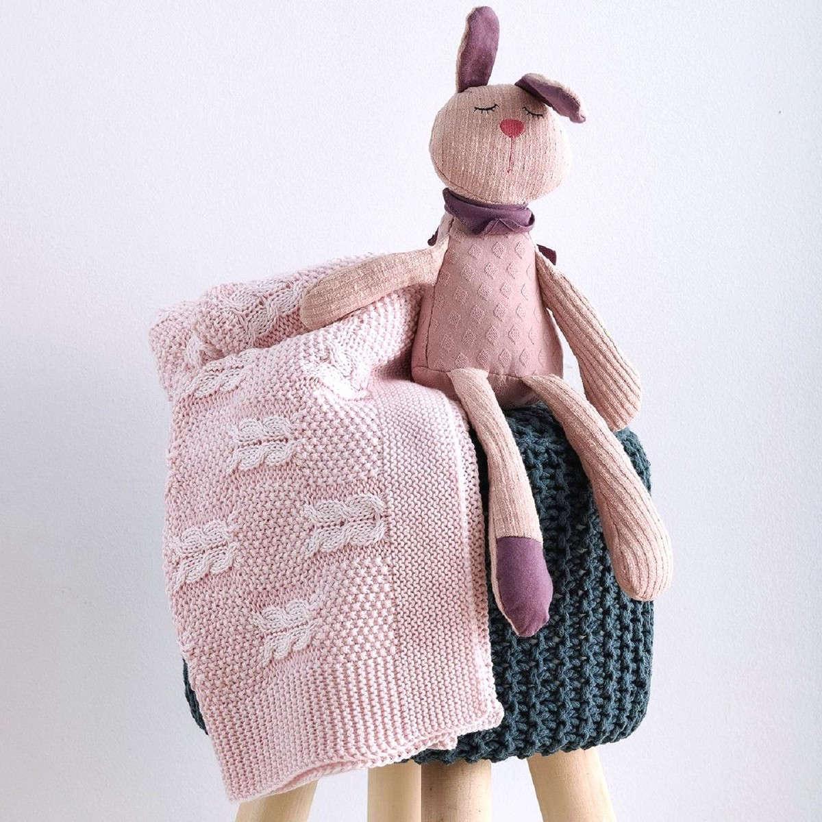 Κουβέρτα Βρεφική Πλεχτή Tress Pink Sb Home ΑΓΚΑΛΙΑΣ 90x90cm