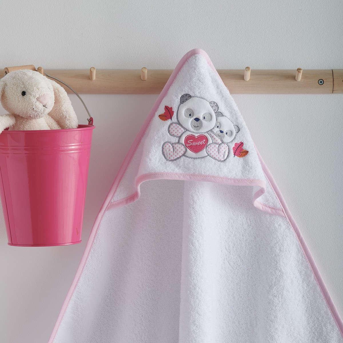 Κάπα Βεφική Με Κέντημα Panda Pink Sb Home 0-2 ετών One Size
