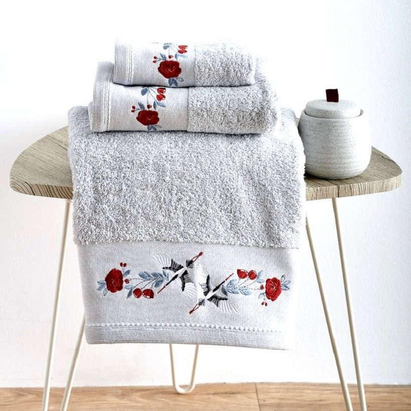 Πετσέτες Σετ 3Τεμ. Με Κέντημα Stork Silver Sb Home Σετ Πετσέτες