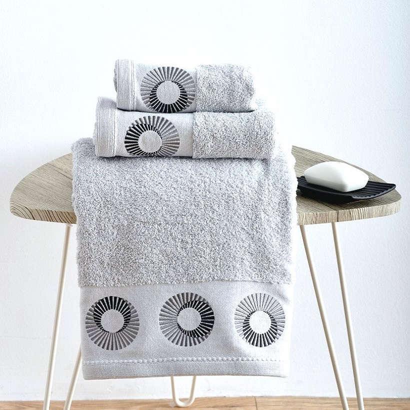 Πετσέτες Σετ 3Τεμ. Με Κέντημα Rays Silver Sb Home Σετ Πετσέτες
