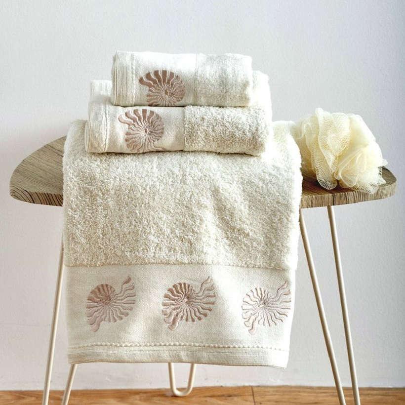 Πετσέτες Σετ 3Τεμ. Με Κέντημα Shell Cream Sb Home Σετ Πετσέτες