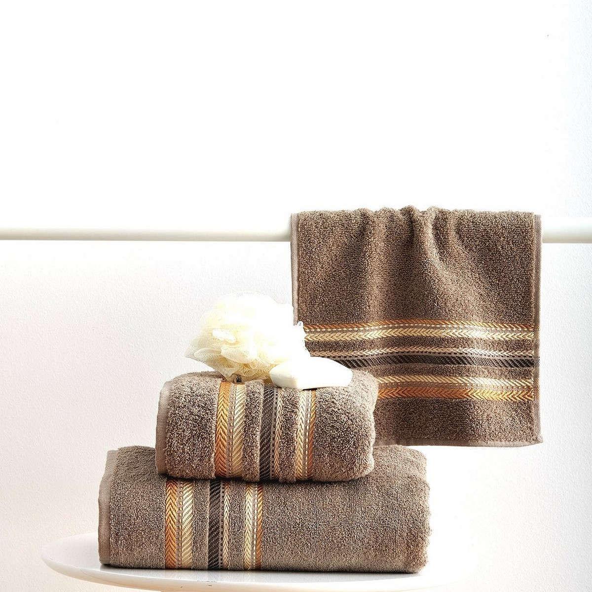Πετσέτες Σετ 3Τεμ. Timothy Taupe Sb Home Σετ Πετσέτες