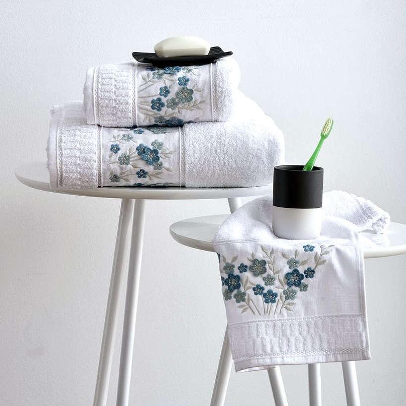 Πετσέτες Σετ 3Τεμ. Με Κέντημα Megan Blue Sb Home Σετ Πετσέτες