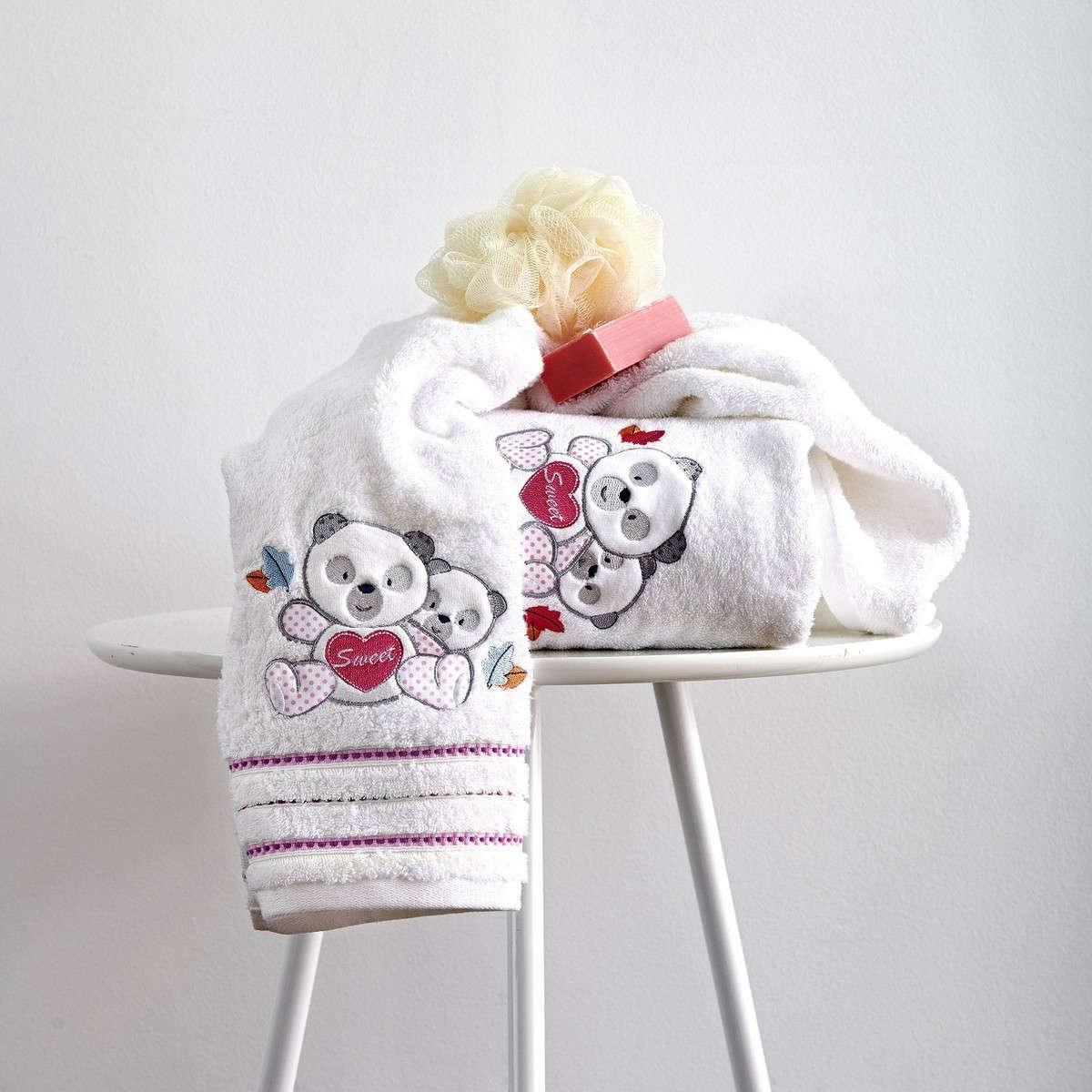 Πετσέτες Σετ Βρεφικές 2Τεμ. Με Κέντημα Panda Pink Sb Home Σετ Πετσέτες