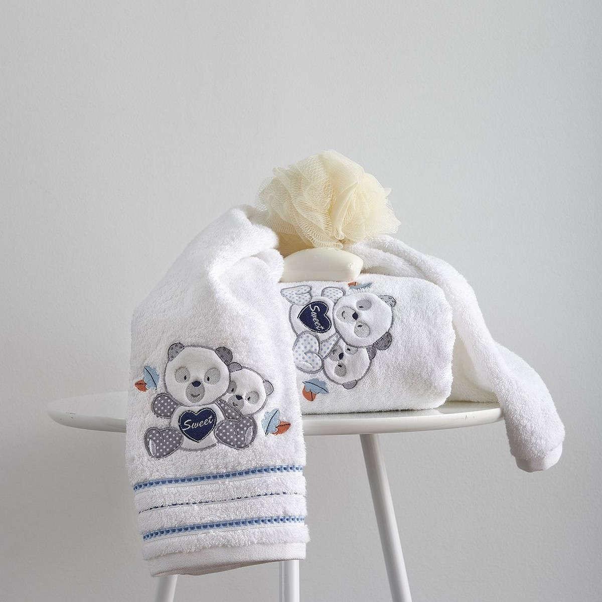 Πετσέτες Σετ Βρεφικές 2Τεμ. Με Κέντημα Panda Blue Sb Home Σετ Πετσέτες