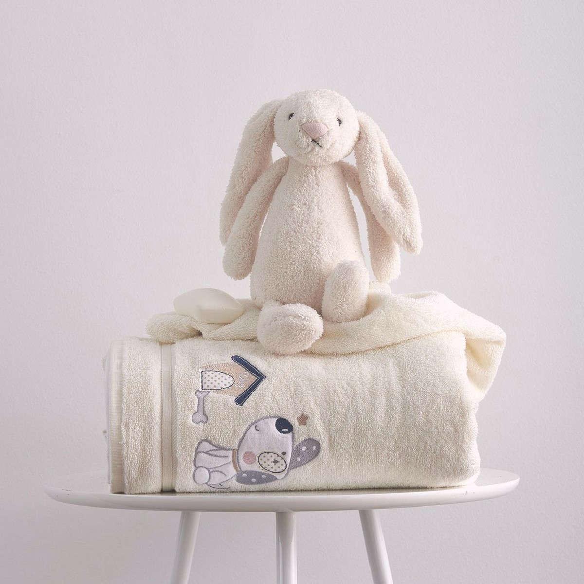 Πετσέτες Σετ Βρεφικές 2Τεμ. Με Κέντημα Puppy Cream Sb Home Σετ Πετσέτες