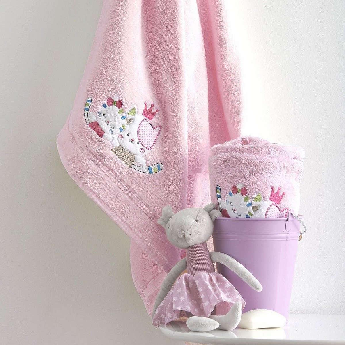 Πετσέτες Σετ Βρεφικές 2Τεμ. Με Κέντημα Gattino Pink Sb Home Σετ Πετσέτες