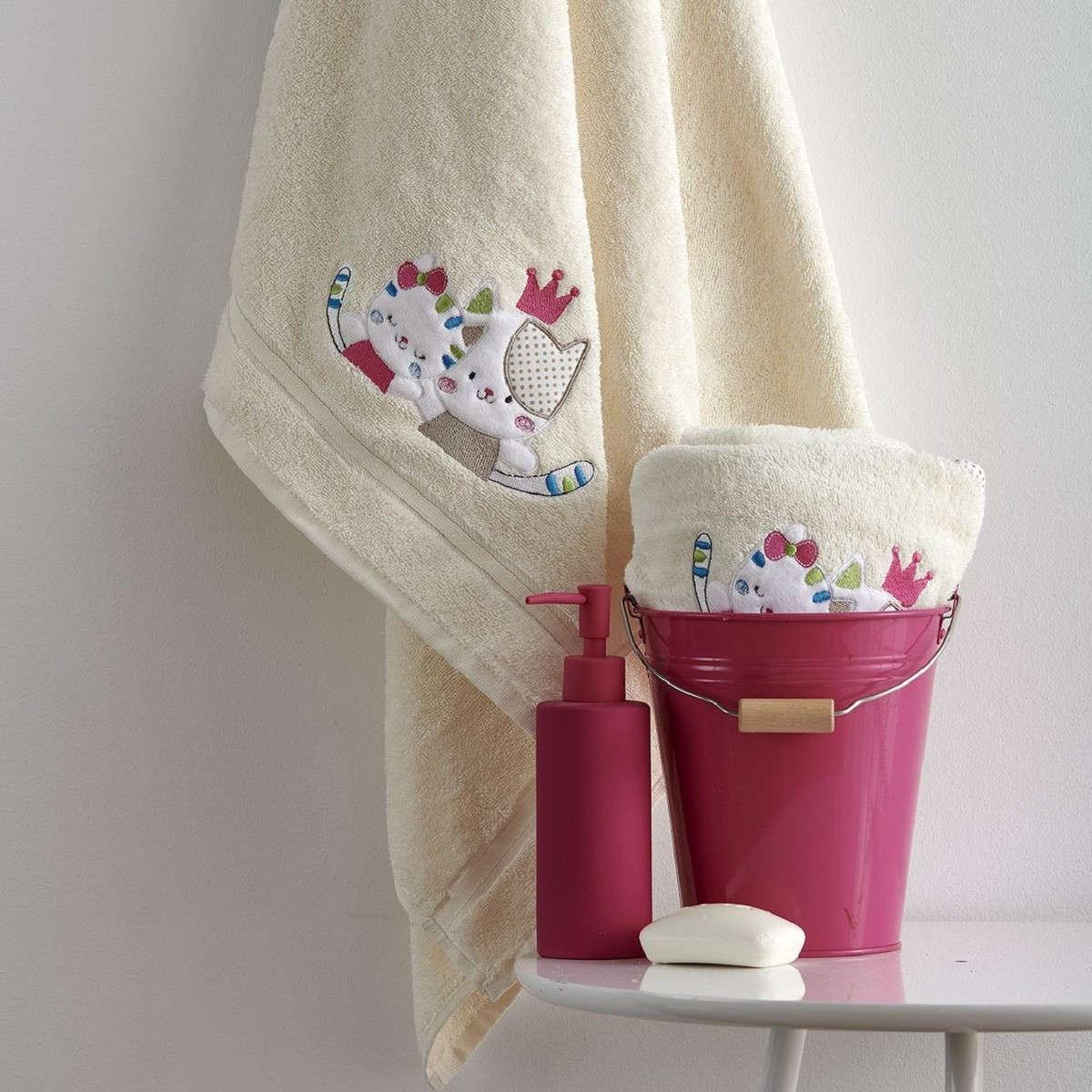 Πετσέτες Σετ Βρεφικές 2Τεμ. Με Κέντημα Gattino Cream Sb Home Σετ Πετσέτες