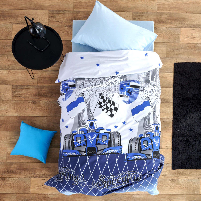 Σεντόνια Παιδικά Σετ Speed Blue Sb Home Μονό 160x240cm