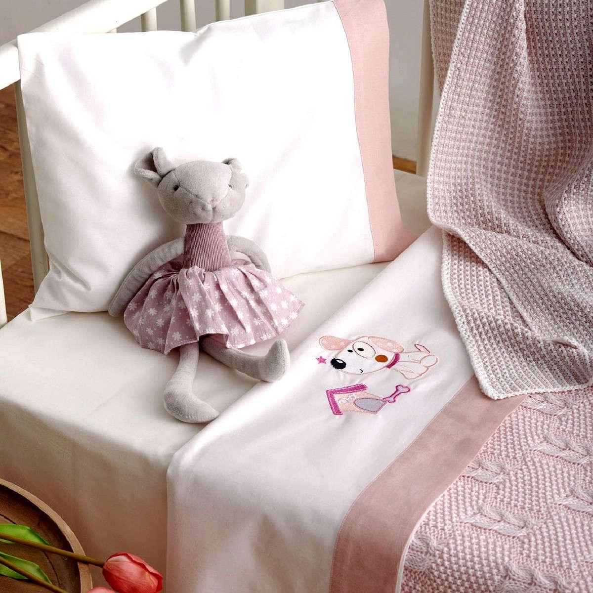 Σεντόνια Σετ 3τμχ Βρεφικά Με Κέντημα Puppy Pink Sb Home Κούνιας 120x160cm