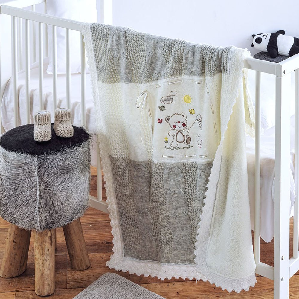 Κουβέρτα Πλεχτή με Γούνα Farfale Ecru-Grey Sb Home Αγκαλιάς 90x90cm