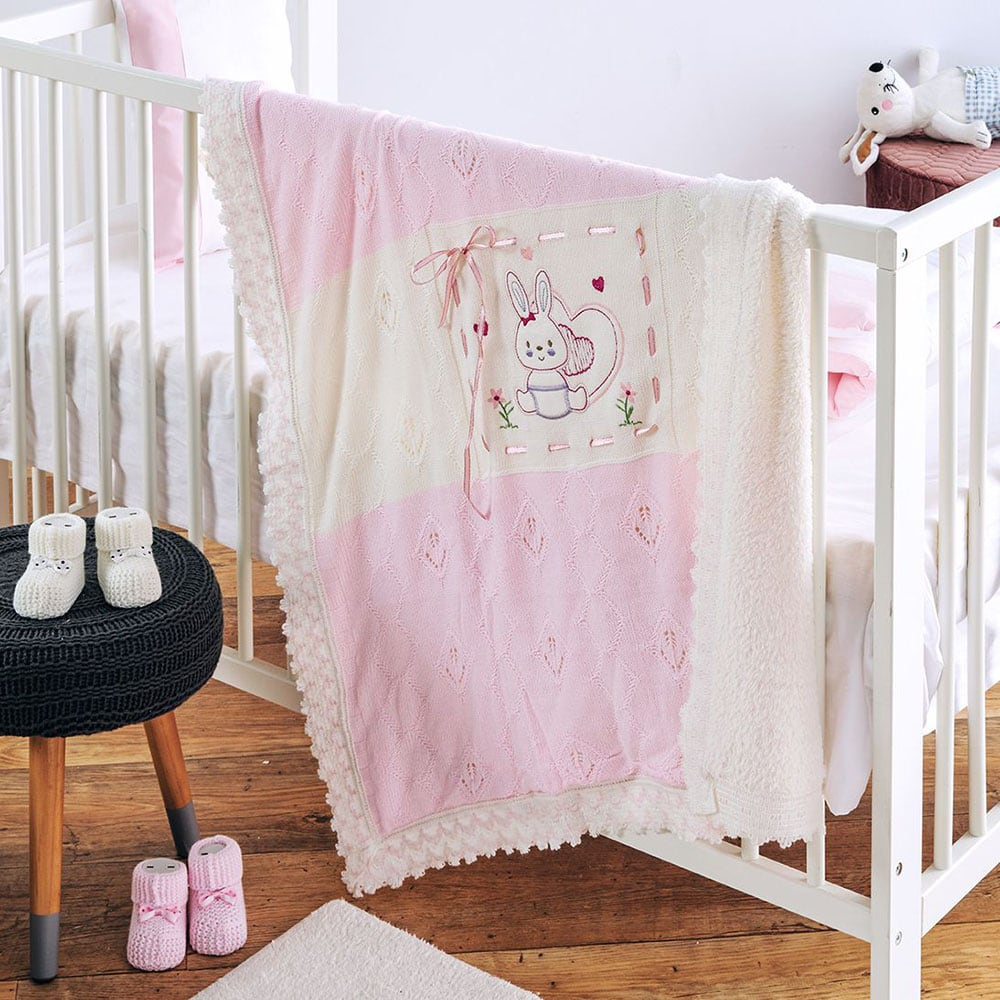 Κουβέρτα Πλεχτή με Γούνα Rabbit Pink Sb Home ΑΓΚΑΛΙΑΣ 90x90cm